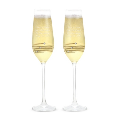Crystal Platinum Toasting Flutes w/ Swarovski Elements - $50.00