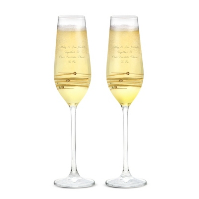 Crystal Gold Toasting Flutes with Swarovski Elements