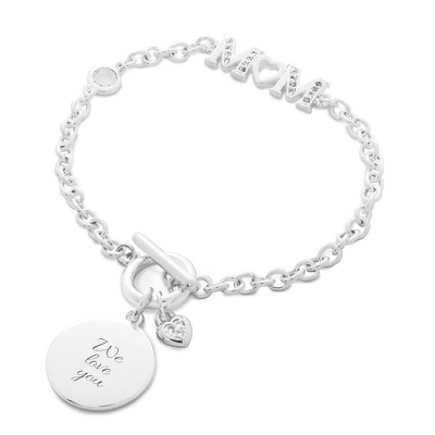 Mom with CZ Accent Toggle Bracelet with complimentary Classic Beveled Edge Round Keepsake Box