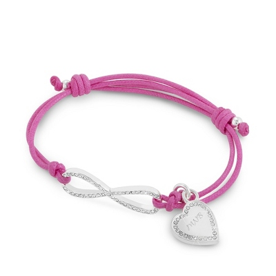 Infinity Pink Personalized Friendship Bracelet with complimentary Classic Beveled Edge Round Keepsake Box