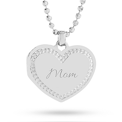 Sterling Silver Beaded Heart Locket with complimentary Filigree Heart Box