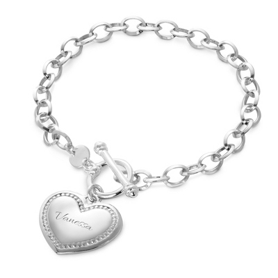 Sterling Silver Beaded Heart Toggle Bracelet with complimentary Filigree Heart Box