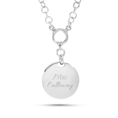 Sterling Silver Profile Circle Toggle Necklace with complimentary Filigree Heart Box - UPC 825008061231