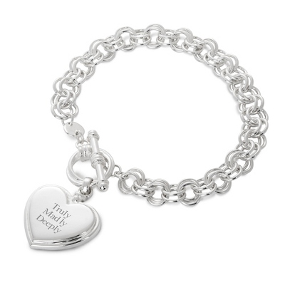 Sterling Silver Profile Heart Bracelet with complimentary Filigree Heart Box