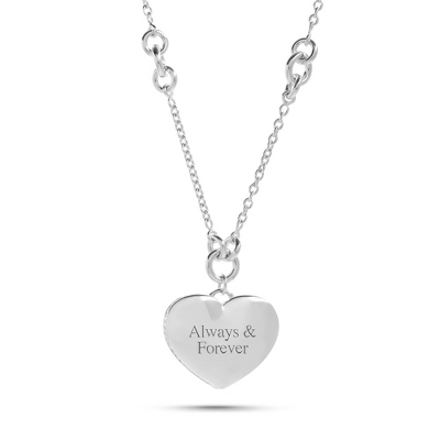 Engraved Sterling Silver Roped Heart Necklace with complimentary Filigree Heart Box