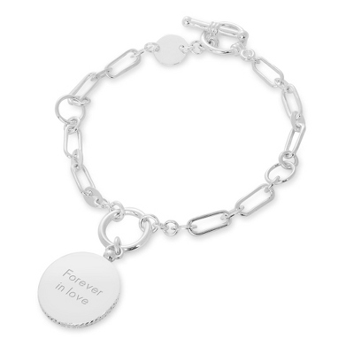 Engraved Sterling Silver Roped Circle Bracelet with complimentary Filigree Heart Box - Sterling Silver Bracelets