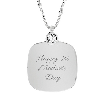 Sterling Silver & Genuine White Sapphire Necklace with complimentary Filigree Heart Box