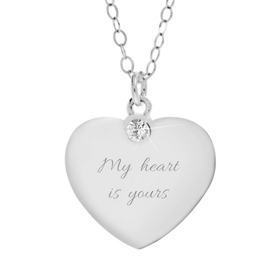 Sterling Silver & Genuine White Sapphire Heart Pendant with complimentary Filigree Heart Box - Sterling Silver Necklaces