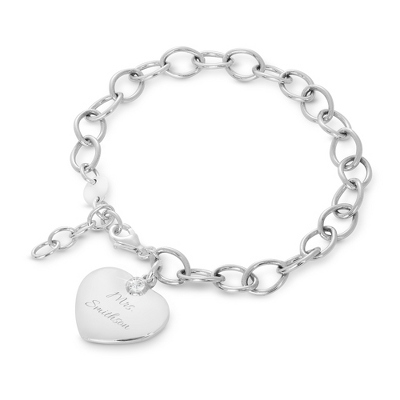 Sterling Silver & Genuine White Sapphire Heart Bracelet with complimentary Filigree Heart Box