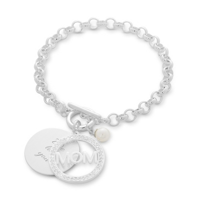 Mom Swing Heart & Pearl Bracelet with complimentary Classic Beveled Edge Round Keepsake Box