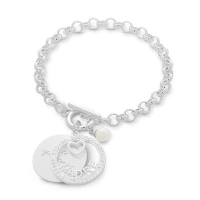 Madre Swing Heart & Pearl Bracelet with complimentary Classic Beveled Edge Round Keepsake Box - Clearance Items for Her