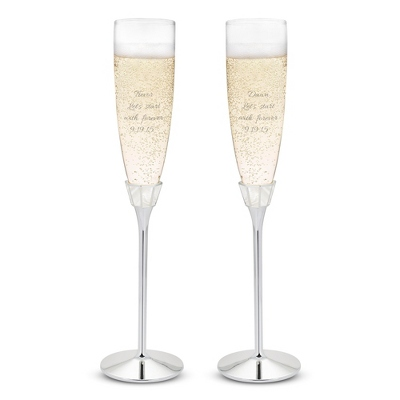 Personalized Champagne Glasses for Wedding Toast
