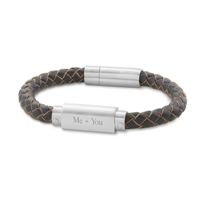 Brown Leather Braided ID Bracelet - Men's Bracelets