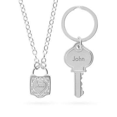 Love Lock Set with Pendant and Key Chain with complimentary Tri Tone Valet Box - UPC 825008064874