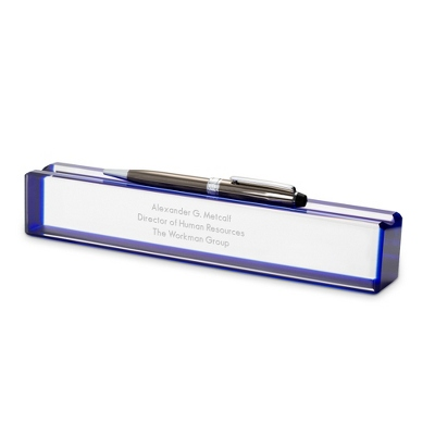 Blue Edge Crystal Name Bar - Desk