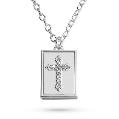 Personalized Bible Cross Necklace with complimentary Classic Beveled Edge Round Keepsake Box