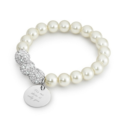 Pearl Bling Bracelet with complimentary Classic Beveled Edge Round Keepsake Box - Women's & Girl's Jewelry