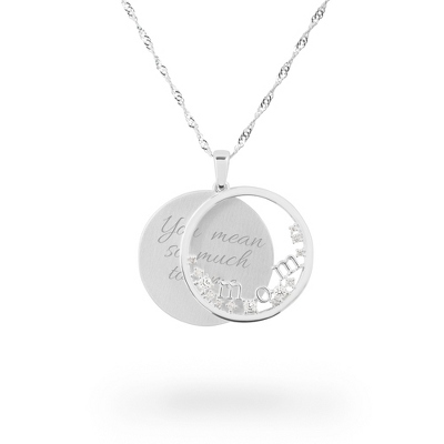 Polished Silver Mom Swing Necklace with complimentary Filigree Heart Box - $60.00