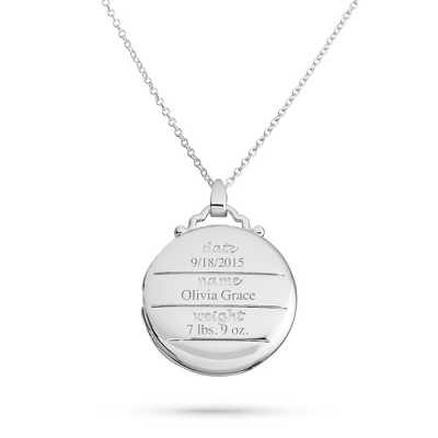 Silver Plated Birthdate Locket with complimentary Classic Beveled Edge Round Keepsake Box