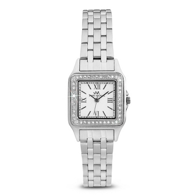 Stainless Crystal Square Watch - For Her