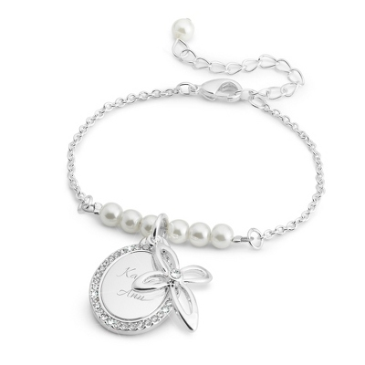 Silver Cross Pearl Bracelet with complimentary Classic Beveled Edge Round Keepsake Box