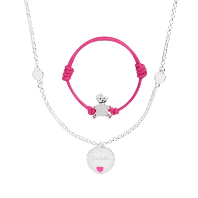 Pink Bracelet and Necklace Set with complimentary Filigree Heart Box - Women's & Girl's Jewelry