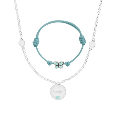 Blue Bracelet and Necklace Set with complimentary Filigree Heart Box