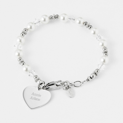 Personalized Sterling Silver Flower Girl Bracelet with complimentary Filigree Heart Box - Women's & Girl's Jewelry