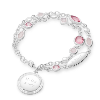 Pink and Blush Double Chain Bracelet with complimentary Filigree Heart Box - Women's & Girl's Jewelry