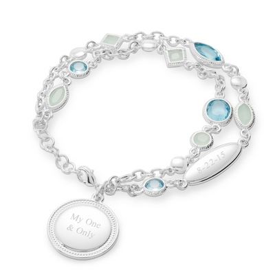 Blue and Seafoam Double Chain Bracelet with complimentary Filigree Heart Box