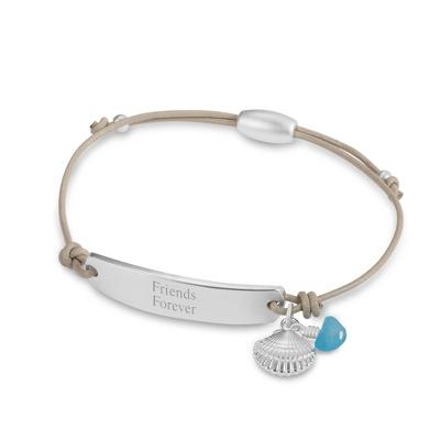 Sea Shell Corded Friendship Bracelet with complimentary Classic Beveled Edge Round Keepsake Box