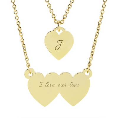 Double Heart Gold ID Necklace with complimentary Classic Beveled Edge Round Keepsake Box - $40.00