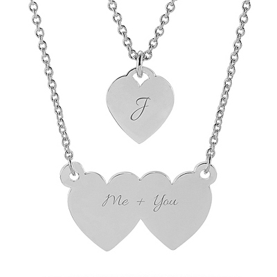 Double Heart Silver ID Necklace with complimentary Classic Beveled Edge Round Keepsake Box - Fashion Necklaces