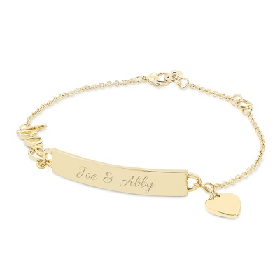 Love Heart Icon ID Bracelet with complimentary Classic Beveled Edge Round Keepsake Box