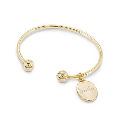 Gold Bling Open Bangle with complimentary Classic Beveled Edge Round Keepsake Box