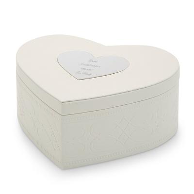 Personalized Antique White Heart Keepsake Box