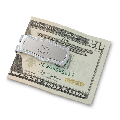 Engraved Classic Silver Money Clip with Bead Accent