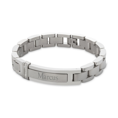 Men's Engraved Stainless Steel ID Bracelet with Diamonds with complimentary Weave Texture Valet Box
