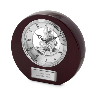 High Gloss Mahogany Round Skeleton Clock