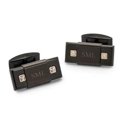 Black Cuff Links with 14KT Gold and Diamond Accents - Cuff Links, Tie Clips & Tie Bars