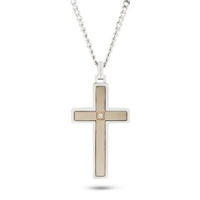 Silver Cross Necklace with 14KT Gold and Diamond Accents - For Him