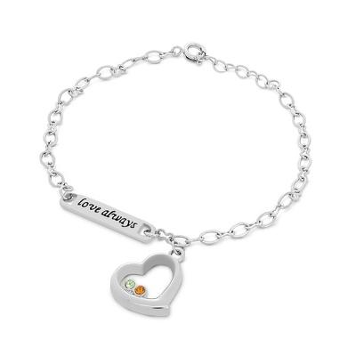 Silver Love Always Birthstone Bracelet with complimentary Round Keepsake Box