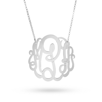 Sterling Silver Large Monogram Necklace with complimentary Classic Beveled Edge Round Keepsake Box