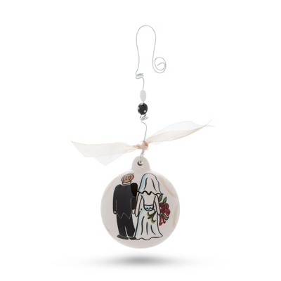 Hand Painted Bride and Groom Christmas Ornament