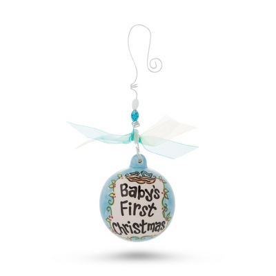 Hand Painted Blue Baby Ornament
