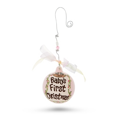 Hand Painted Pink Baby Ornament - All Christmas Ornaments
