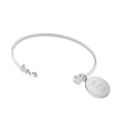 Love Open Bangle Bracelet with complimentary Classic Beveled Edge Round Keepsake Box - Women's & Girl's Jewelry