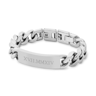 Large Shiny Stainless Steel ID Bracelet with complimentary Tri Tone Valet Box - UPC 825008073722