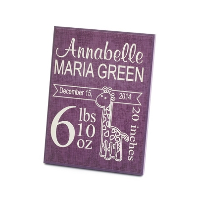 Personalized Purple Baby Plaque Wall Art