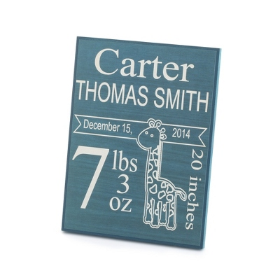Personalized Blue Baby Plaque Wall Art
